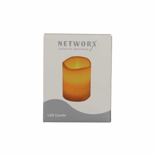 Networx LED Candle Kerze mit Flackern einer Flamme aus echtem Wachs weiß