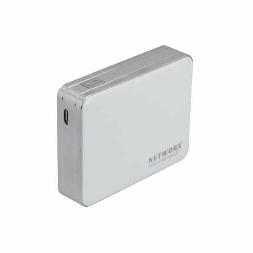 Networx Power Bank 4000mAh, Zusatzakku für Smartphones/Tablets, weiß
